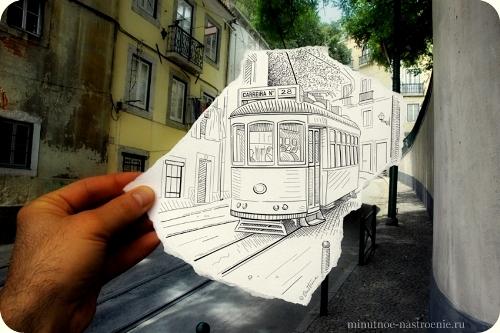 «Pencil VS Camera» от Ben Heine травмай в городе