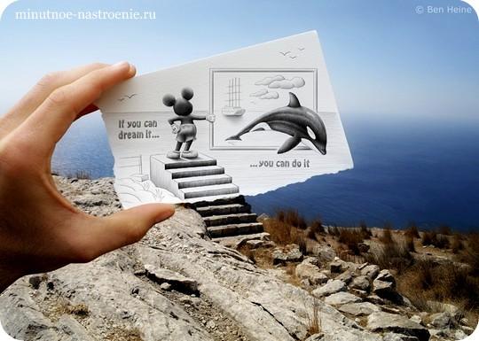 «Pencil VS Camera» от Ben Heine микки маус с дельфином