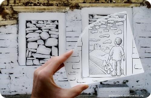 «Pencil VS Camera» от Ben Heine мальчик с мишкой