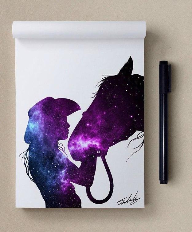 космос, рисунок, девушка, Космические рисунки,  Muhammed Salah, Мохамед Салах, девушка с конем, конь