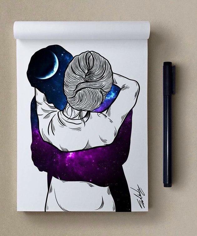 космос, рисунок, девушка, Космические рисунки,  Muhammed Salah, Мохамед Салах, объятия, обнимашки