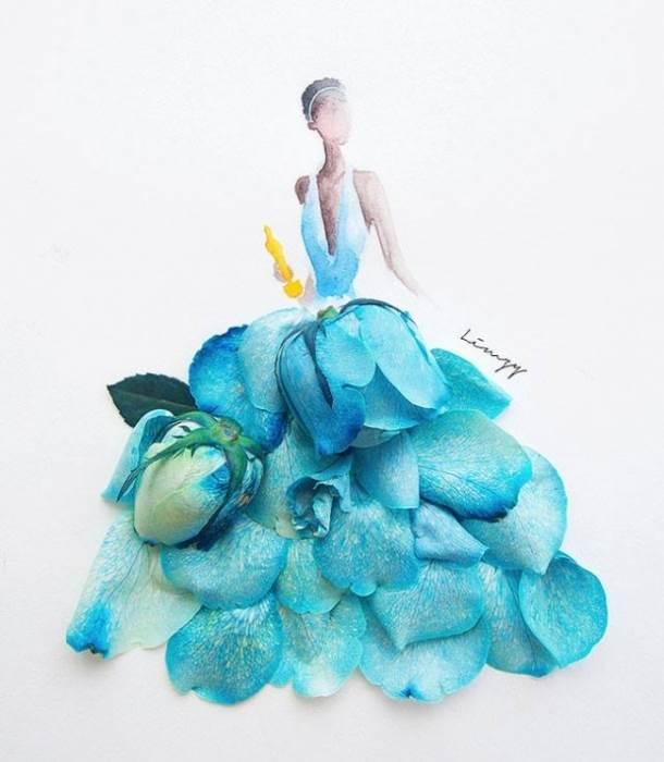 цветы, девушка, Limzy, акварель